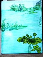 Paysage vert - peinture xieyi sur porcelaine de Plume Magicienne.