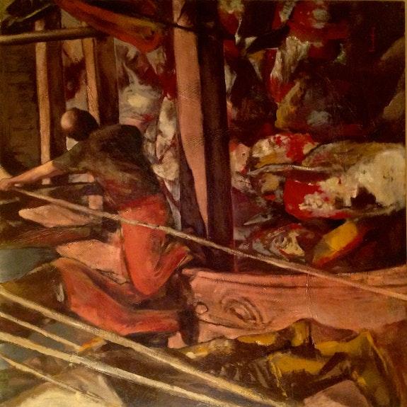 Ölgemälde Angeln Tuna / Maler Ricardo Parabere. Ricardo Parabere Antiguedadesoratam