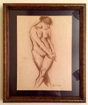 Nude Dessin Pomes peintre Josep Abella / Tarragona -1940.