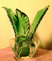 Crystal vase triangular green.