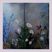 Delphinium, marguerites, aromes et iris.