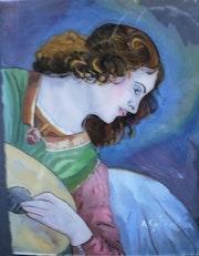 Peinture sous verre - Un ange du 15e siècle.
