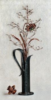 Vase mit Kupferblumen 1.