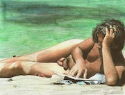 Original Artwork Drawing Painting Male Nude Gay Interest ~ At The Beach. Mcicconnet