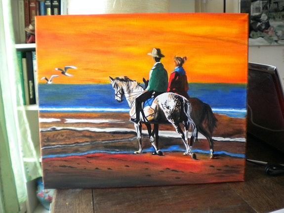 Couple de cavaliers scrutant l'horizon. Pierrette Kuhn Pierrette Kuhn