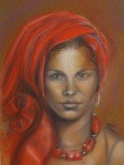 Jeune femme au turban rouge.