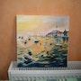 Coucher de soleil sur la mer. Pierrette Kuhn