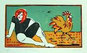 «Henne und Hahn» - farbiger Linoldruck. Manuela Hinkeldey