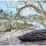 Guerlesquin le vieux bateau, pastel et plume. Rémy Nicolas