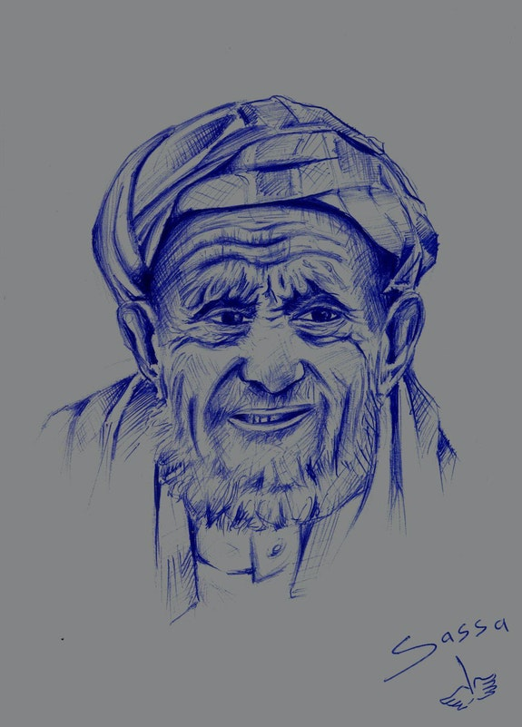 Portrait vieil homme bérbere. Sassa Simo Simo Sassa
