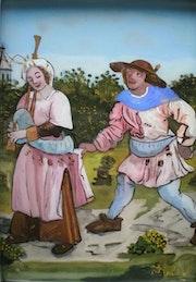 Peinture sous verre - Scène du «Petit Livre d'Amour».