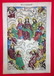 Blatt Salvator mundi - Jesus und seine Jünger, Schedel Weltchronik.