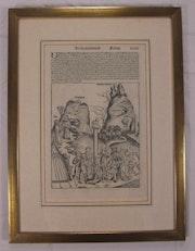 Blatt «Tanz um das goldene Kalb», gerahmt, Schedel Weltchronik 1493. Thomas Kern