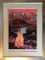 Original Farblithographie «Schloß Neuschwanstein» 1987, Andy Warhol. Thomas Kern