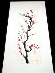 Toile Encre de Chine Zen japonais Fleur de cerisier.