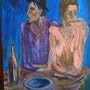 Frugal repast (name of the picasso etching)colored by me. Metin Yasarturk