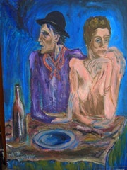 Frugal repast (name of the picasso etching)colored by me.
