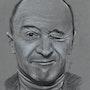 Michel Audiard, portrait au fusain. Philippe Flohic
