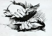 Les mains, encre. Rémy Nicolas
