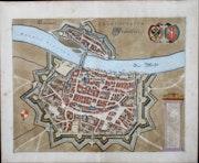 Kolorierte Kupferstichkarte Janssonius von Frankfurt, 1657, nach Merian,. Thomas Kern