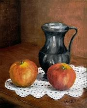 Deux pommes et petit pot d'étain.