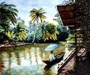 En Thaïlande - Retour du marché flottant.