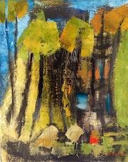 Abstraction autour d'un paysage en forêt.