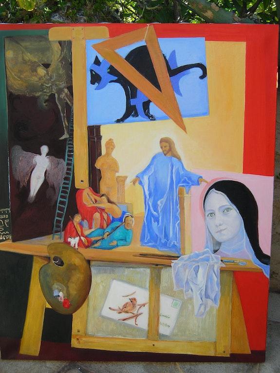 Allégorie biblique en trompe l'oeil dans l'atelier du peintre. Jacques Blasco Jacques Blasco