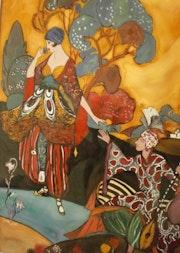 Peinture sous verre - Scène Rubeyrat. Annie Saltel