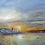 Couché de soleil sur un village marin / Sunset over a fishing village. Gérard Pichet