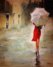 Corriendo bajo la lluvia.