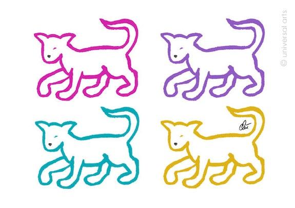 Varicoloured Cats - limitierte Original Grafik - Jacqueline_Ditt. Jacqueline_Ditt Universal Arts Galerie Studio Gmbh