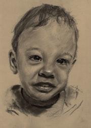 Portrait enfant 2 ans, fusain..