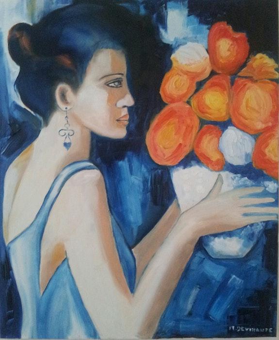 Femme bleue. Michele Devinante Michèle Devinante