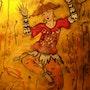 Petit danseur chinois - Peinture sous verre.
