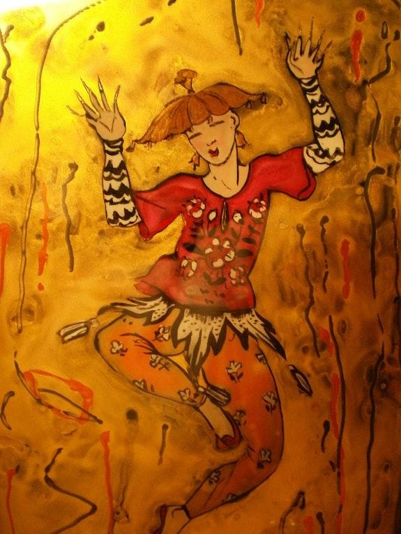 Petit danseur chinois - Peinture sous verre. Annie Saltel Annie Saltel
