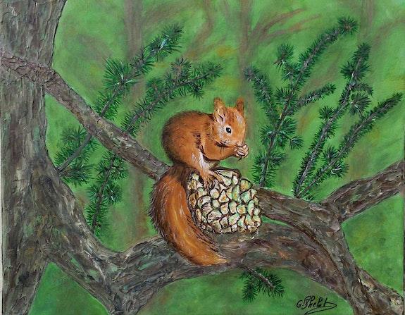 Un petit grignotage sur la branche..  Ghislaine Phelut