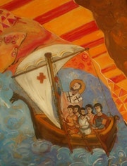 Peinture sous verre : St Nicolas, mon bon patron.