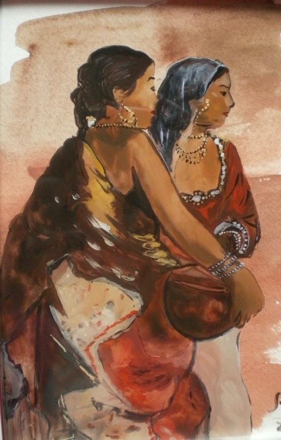 Peinture sous verre - Esquisse d'un personnage orientaliste. Annie Saltel Annie Saltel