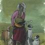 Peinture sous verre - 2ème esquisse d'un personnage orientaliste. Annie Saltel