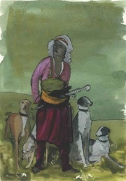 Peinture sous verre - 2ème esquisse d'un personnage orientaliste.