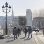 Hiver ensoleillé sur la place de l'hôtel de ville de Paris. Thierry Duval