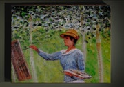 Blanche Monet painting in the wood in Giverny after Claude Monet.