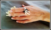 Silver flower. Cocktail ring. Evening accessory.. Nikita Ben Ami