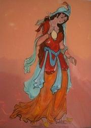Peinture sous verre - Jeune femme orientale.
