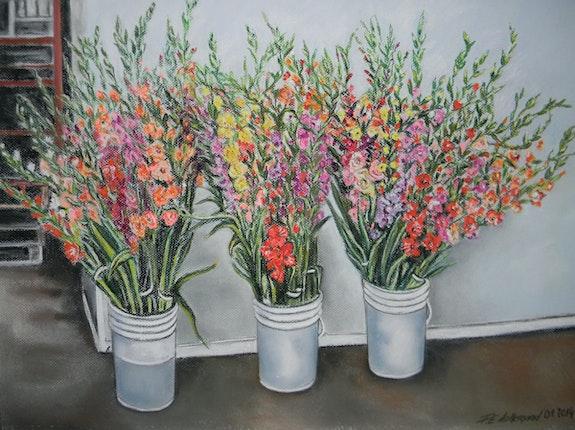 Chez la fleuriste du Marché Talbot. Les glaïeuls.. Françoise-Elisabeth Lallemand Françoise-Elisabeth Lallemand