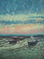Sunset on Folkestone harbour.. F Aouni