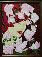 Magnolias - glasspainting, 18X24cm.