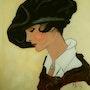 Peinture sous verre - Dame au chapeau. Annie Saltel