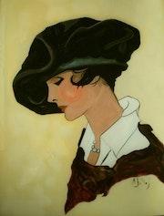 Peinture sous verre - Dame au chapeau.